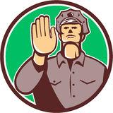 Retro cirkel för tecken för stopp för hand för trafikpolis Royaltyfri Bild