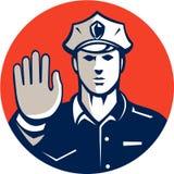 Retro cirkel för tecken för stopp för hand för trafikpolis Arkivbilder