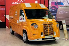 Retro Citroen Jumper HY commercial vehicle. BRUSSELS - JAN 18, 2019: Retro Citroen Jumper HY commercial vehicle showcased at the 97th Brussels Motor Show 2019 stock photos