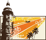 Retro città arancione di Grunge Immagini Stock