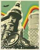 Retro città di musica Fotografie Stock Libere da Diritti