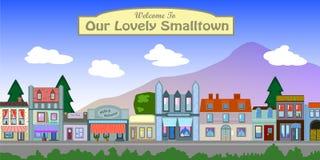Retro cittadina d'annata nell'illustrazione dell'America Immagine Stock
