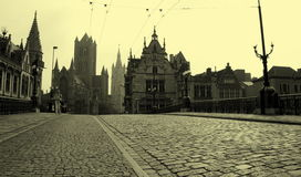 Retro city. New memoirs on old Belgium Stock Images