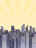 Retro City Background. An illustration of a retro cityscape inspired by old Broadway musicals Royalty Free Stock Images