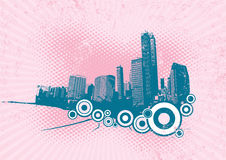 Retro city with circles.Vector. Retro city with circles on pink background. Vector art Royalty Free Illustration