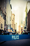 Retro City Crime Scene. Retro Style Photo Of A Police Barrier At A Crime Scene In A City Street stock image