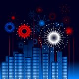 Retro city fireworks Royalty Free Stock Images