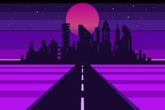 Retro city landscape, futuristic background. Vector illustration vector illustration