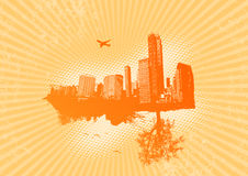 Retro city with nature. On orange background. Vector art Vector Illustration