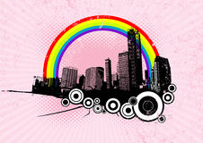 Retro city with rainbow.Vector. Retro city with rainbow on pink background. Vector art Vector Illustration