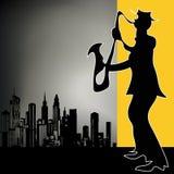 Retro City Sax Player Stock Image