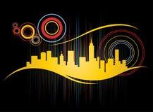 Retro City Skyline. Funky retro city skyline with abstract colorful design Royalty Free Stock Photos