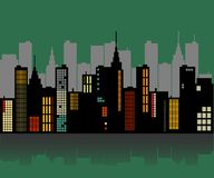 Retro City Skyline Stock Image
