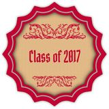 Retro CLASS OF 2017 magenta badge. Illustration concept image Royalty Free Stock Photography