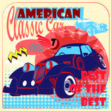 Retro classic American car. Side view vintage auto on the color background with calligraphic text, element. Vector Stock Photography