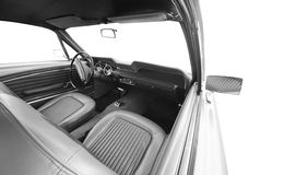 Retro classic car interior. Old retro classic car interior isolated on white background Stock Photo