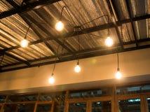 Retro classic hanging light bulbs. Stock photo Royalty Free Stock Photos