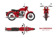 Retro classic motorcycle in realistic style. Side, top and front 3d view. Detailed image of vintage red motorbike. On white background. Vector isolated stock illustration