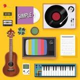 Retro Classic Music Entertainment Media Mixed Icon Illustration Royalty Free Stock Image