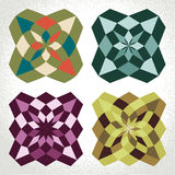 Retro classic square geometric flower patterns Royalty Free Stock Image