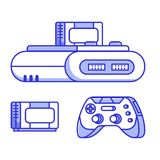 Retro Classic TV Game Con. Sole. Vintage 8 bit console system with cartridge or cassette and controller. Popular video gaming device from nostalgic 90s. Old Royalty Free Illustration