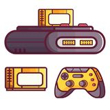 Retro Classic TV Game Console. Vintage 8 bit console system with cartridge or cassette and controller. Popular video gaming device from nostalgic 90s. Old Royalty Free Illustration