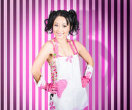 Retro cleaning service maid with smile Royalty Free Stock Images