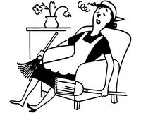 Exhausted Housewife. Retro Clip Art Illustration - Overwhelmed and tired of doing endless housework Stock Photo