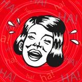 Retro clipart d'annata: donna divertendosi e ridendo Fotografie Stock Libere da Diritti