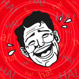 Retro clipart d'annata: Grassa risata, ridere fragorosamente dell'uomo Immagini Stock