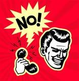 Retro clipart d'annata: indichi il rifiuto in bianco, impiegato seccante della call center di vendita per televisione ottiene un  Fotografia Stock