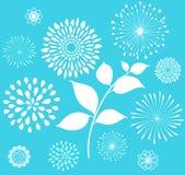 Retro clipart floreale bianco su fondo blu Fotografia Stock Libera da Diritti