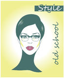 Retro clipart woman Faces with sunglasses,eyeglasses beautiful female face. Comic book style businesswoman Stock Photo