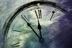 Retro clock with five minutes before twelve Royalty Free Stock Photos