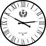 Retro clock with Roman Dial. Vintage clock face with Roman numerals Royalty Free Stock Photo