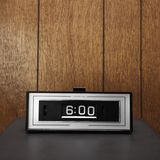 Retro clock set for 6:00. royalty free stock image