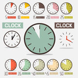 Retro Clock - Time Countdown Vector Set. Isolated on White Background Royalty Free Stock Photos