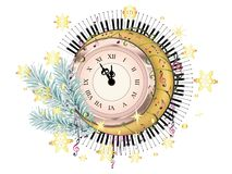 Retro Clock With Music Notes Royalty Free Stock Photos