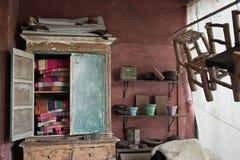 Retro closet. Old retro closet room interior stock photography