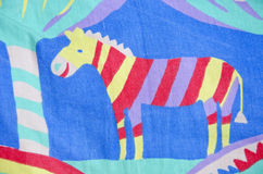 Retro cloth with painted zebra background Royalty Free Stock Photos