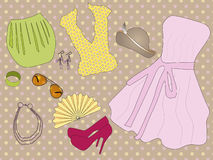 Retro clothes for woman. Vector illustration of retro clothes for woman Stock Photography