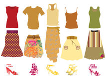 Retro clothes for woman. Vector illustration of retro clothes for woman Stock Images