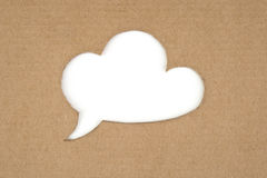 Retro cloud for message. Made of cardboard Stock Images