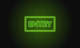 Retro club inscription Entry. Vintage electric signboard with bright neon lights. Green light falls on a brick background. Vector Stock Photography