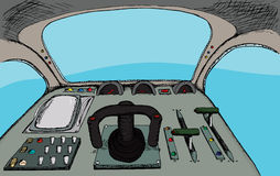 Retro Cockpit. Pilot view from a generic fantasy control room Stock Image