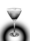 Retro cocktail. Black and white picture of retro martini glass stock images