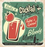 Retro cocktail lounge vector poster design Royalty Free Stock Images
