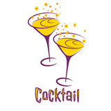 Retro cocktail party card Stock Image