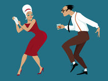Retro cocktail party. EPS 8 vector illustration of a couple dressed in 1960s fashion dancing and mixing cocktails, no transparencies Stock Image