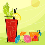 Retro Cocktails (Vector). Retro Cocktails with paper umbrellas. Each item is grouped so you can use them independently from the background. Layered file for easy Royalty Free Stock Image